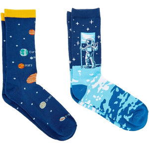 Space Lovers Crew Socks for Women, Fun Gift Set (One Size, 2 Pairs)