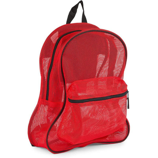 Red Mesh Backpack with Pockets, Medium Sized Backpack (13.8 x 17 x 5.5 In)