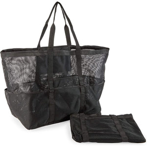 Mesh Beach Bags, Black Totes with 9 Pockets (2 Pack)