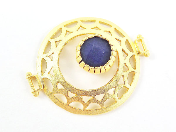 Royal Blue Jade Stone Fretworked Circle Connector Pendant - 22k Matte Gold Plated - 1PC