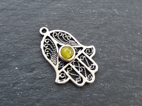Filigree Hand of Fatima Hamsa Pendant Charm with Yellow Smooth Cut Jade Accent - Antique Matte Silver Plated