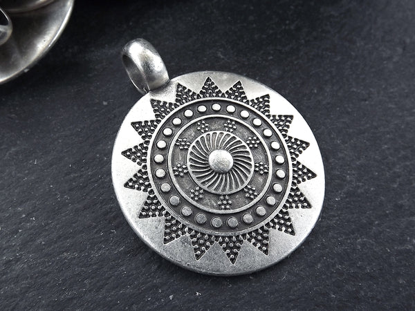 Large Ethnic Sun Mandala Round Disc Pendants with Side Facing - Matte Antique Silver Plated - 1pc