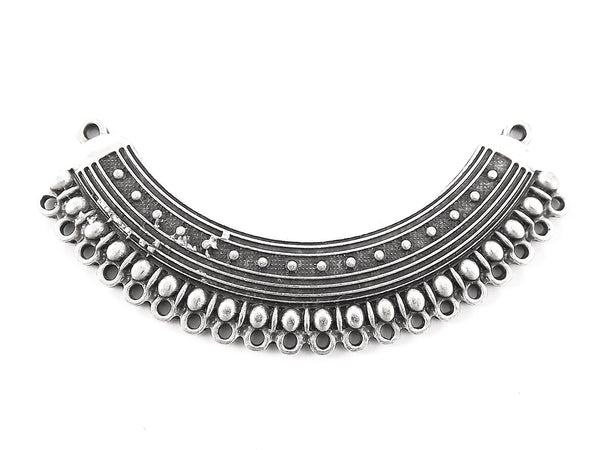 Ethnic Dotted Detail Looped Focal Collar Pendant Necklace Connector - Matte Antique Silver Plated - 1PC