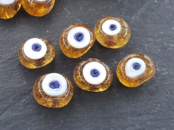 6 Caramel Honey Yellow Evil Eye Nazar Glass Bead Traditional Turkish Handmade Protective Lucky Amulet 16 mm - VALUE PACK Turkish Glass Beads