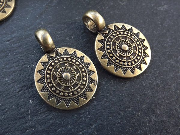 2 Small Ethnic Sun Mandala Round Disc Pendants with Side Facing - Antique Bronze Plated
