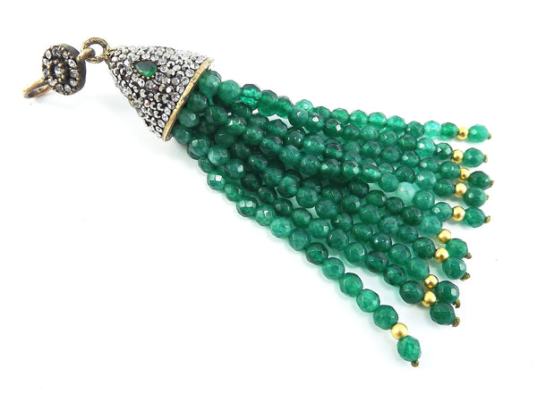 Large Long Emerald Green Facet Cut Jade Stone Beaded Tassel with Encrusted Crystal Accents - Antique Bronze - 1PC
