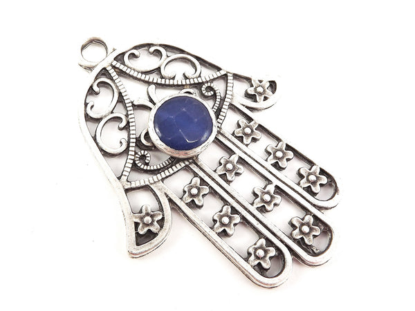 Extra Large Hamsa Hand of Fatima Pendant Round Royal Blue Jade - Matte Anitque Silver Plated - 1PC