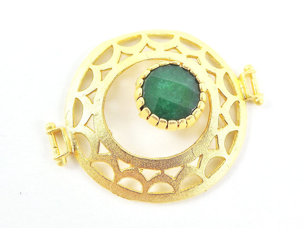 Emerald Green Jade Stone Fretworked Circle Connector Pendant - 22k Matte Gold Plated - 1PC