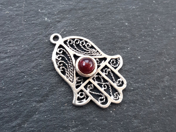Filigree Hand of Fatima Hamsa Pendant Charm with Garnet Red Smooth Cut Jade Accent - Antique Matte Silver Plated
