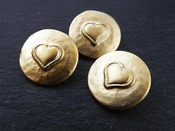 3 Rustic Metal Heart Buttons 22k Matte Gold Plated - Round Silver Buttons, Metal Shank Button, Sewing Buttons, Jewelry Making Buttons