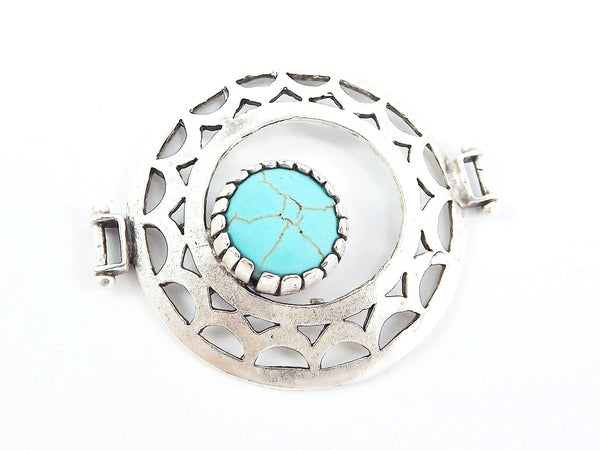 Turquoise Stone Fretworked Circle Connector Pendant - Matte Silver Plated - 1PC