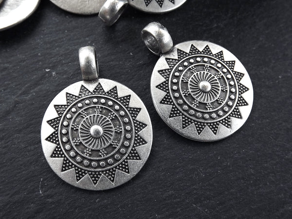 2 Medium Ethnic Sun Mandala Round Disc Pendants with Side Facing - Matte Antique Silver Plated