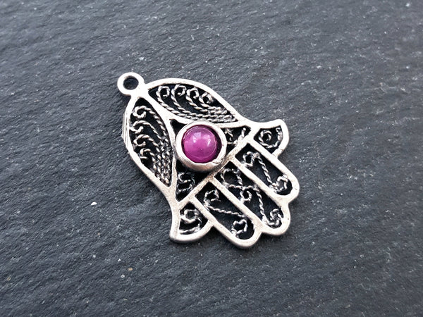 Filigree Hand of Fatima Hamsa Pendant Charm with Hot Pink Smooth Cut Jade Accent - Antique Matte Silver Plated