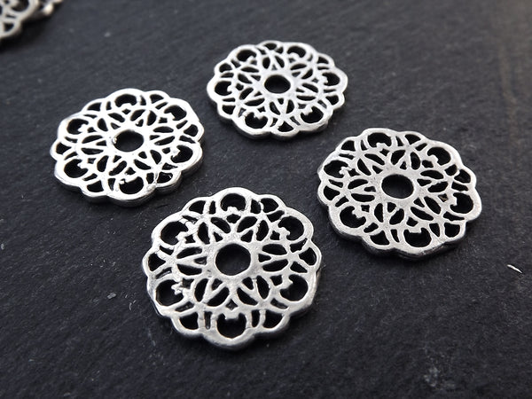 Silver Lace Charms, Round Rustic Fretwork discs, Disc Charms, Disc Connectors, Lace Connectors, Earring Pendant, Matte Antique Silver Plated, 4pc