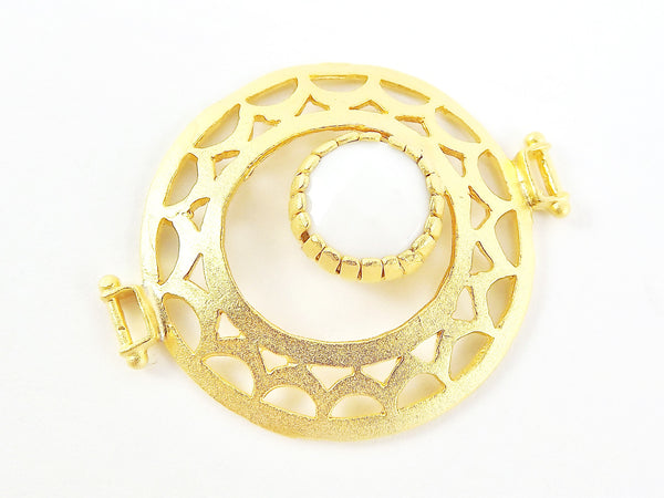 Opaque White Jade Stone Fretworked Circle Connector Pendant - 22k Matte Gold Plated - 1PC