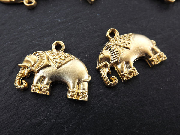 2 Ethnic Elephant Pendant Charms - 22k Matte Gold Plated - 2PC