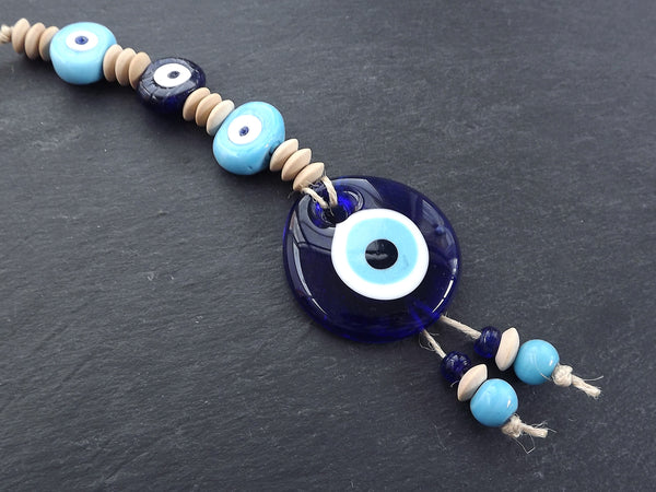 Sky Blue Navy Turkish Evil Eye Wall Hanging Home Garden Decoration with Evileye Traditional Artisan Beads - No:51