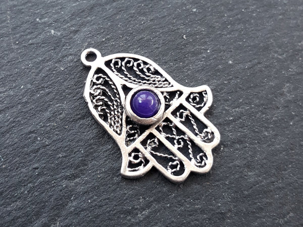 Filigree Hand of Fatima Hamsa Pendant Charm with Deep Purple Smooth Cut Jade Accent - Antique Matte Silver Plated