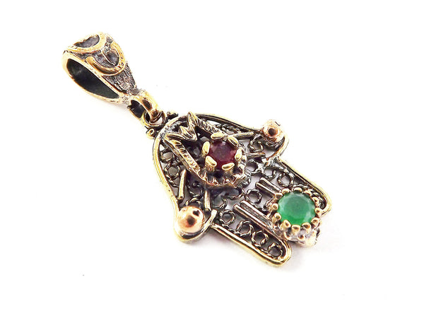 Mini Hamsa Hand of Fatima Pendant Red Green Crystal Copper Plated Dots - 2