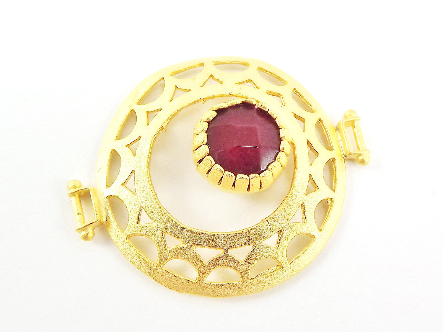 Garnet Red Jade Stone Fretworked Circle Connector Pendant - 22k Matte Gold Plated - 1PC