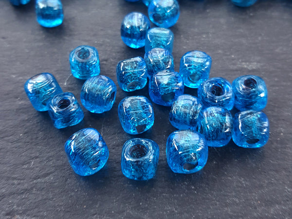 BULK - 30 Aegean Blue Rustic Cube Glass Bead - Square Dice Shape Traditional Turkish Artisan Handmade - 7mm - Turkish Glass Beads