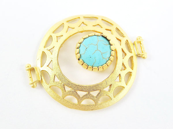 Turquoise Stone Fretworked Circle Connector Pendant - 22k Matte Gold Plated - 1PC