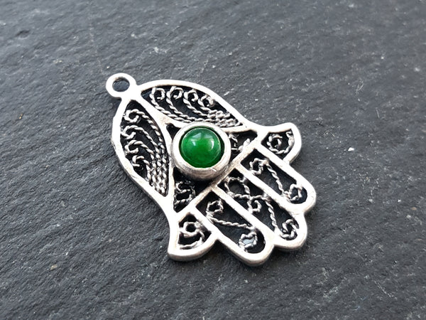 Filigree Hand of Fatima Hamsa Pendant Charm with Emerald Green Smooth Cut Jade Accent - Antique Matte Silver Plated