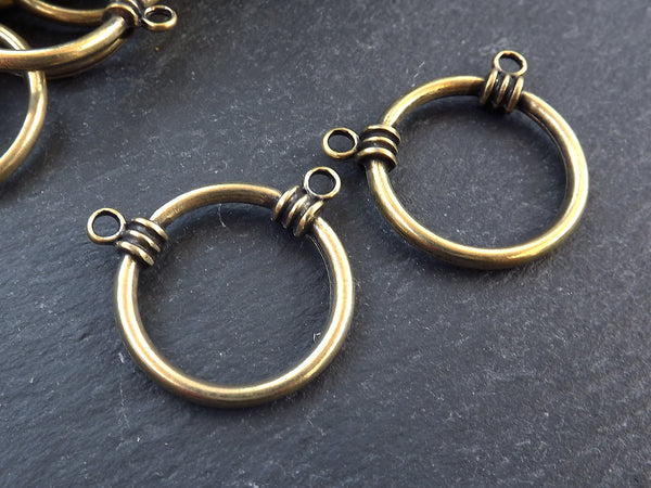 2 Round Ring Closed Loop Pendant Connector with Two Loops - Antique Bronze Plated