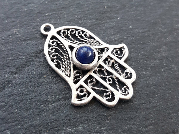 Filigree Hand of Fatima Hamsa Pendant Charm with Navy Blue Smooth Cut Jade Accent - Antique Matte Silver Plated