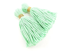 Long Mint Handmade Wool Thread Tassels - 3 inches - 75mm - 2 pc