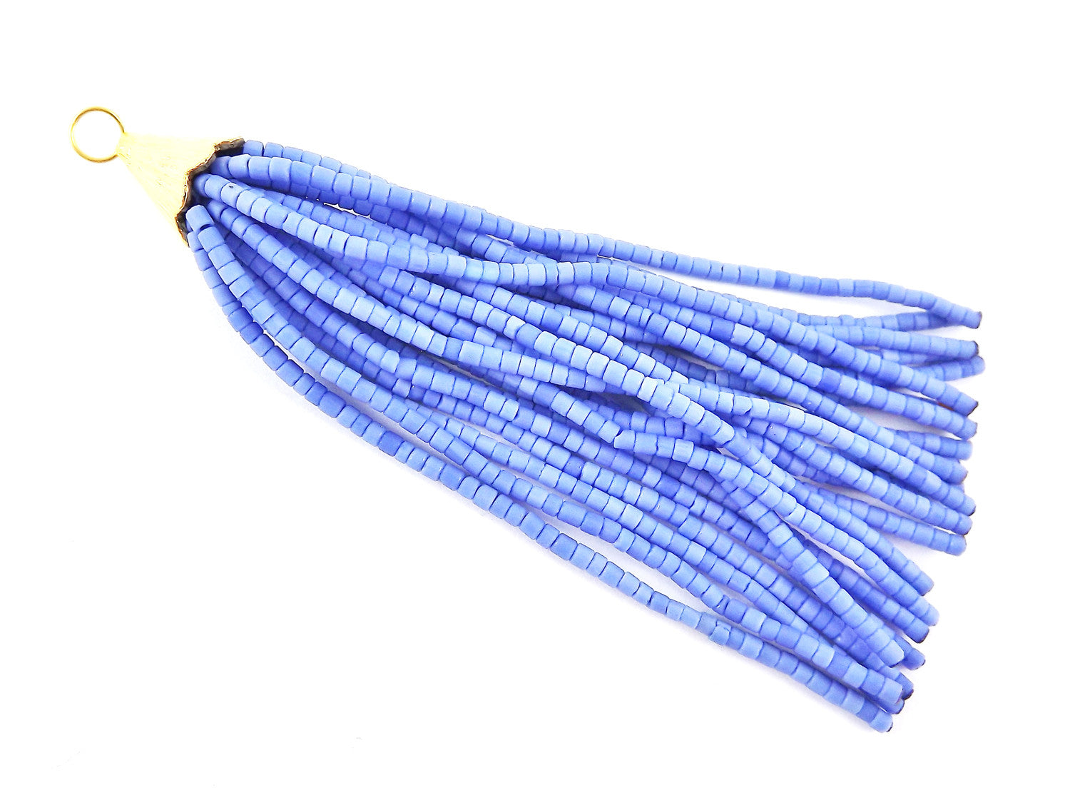 Cornflower Blue Afghan Tibetan Heishi Tube Beaded Tassel - Handmade - Textured 22k Matte Gold Plated Cap - 92mm = 3.62inches -1PC