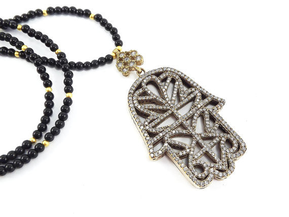 Sparkly Hamsa Hand of Fatima Rhinestone and Gemstone Necklace -  Black Facet Cut Onyx Stone