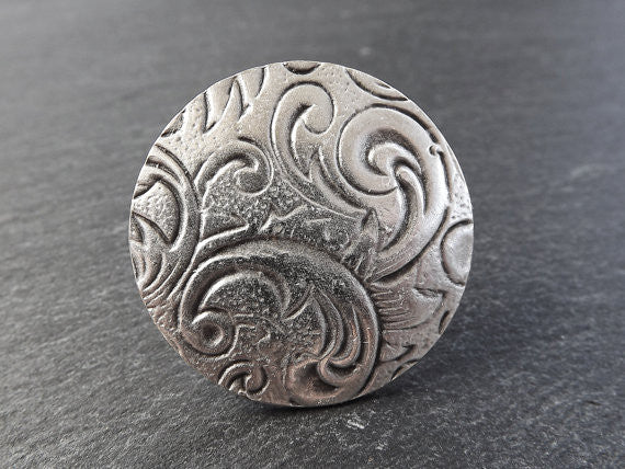 Baroque Floral Pattern Round Adjustable Silver Ethnic Tribal Boho Statement Ring
