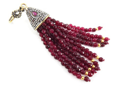 Large Long Garnet Red Facet Cut Jade Stone Beaded Tassel with Encrusted Crystal Accents - Antique Bronze - 1PC
