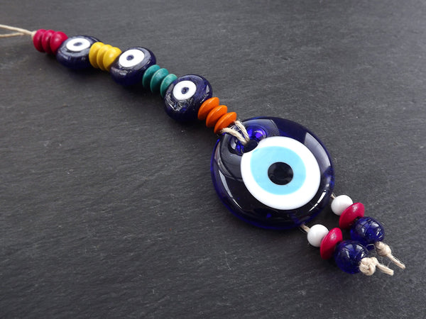 Fun Colorful Turkish Evil Eye Wall Hanging Home Garden Decoration with Evileye Traditional Artisan Beads - No:53