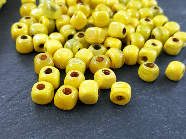 BULK - 30 Marble Lemon Yellow Rustic Cube Glass Bead - Square Dice Shape Traditional Turkish Artisan Handmade - 7mm - Turkish Glass Beads