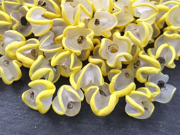 Yellow Zig Zag Line Frosty Translucent Pinched Wave Artisan Handmade Glass Bead - 15 x 12mm - 10pcs