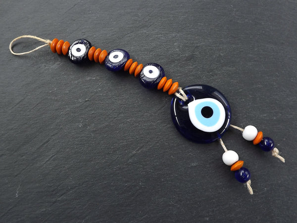 Evil Eye Wall Hanging, Orange, Navy Blue, Turkish Evil Eye, Lucky, Protective, Wall Hanging, Home Decor, Garden Decoration, Artisan
