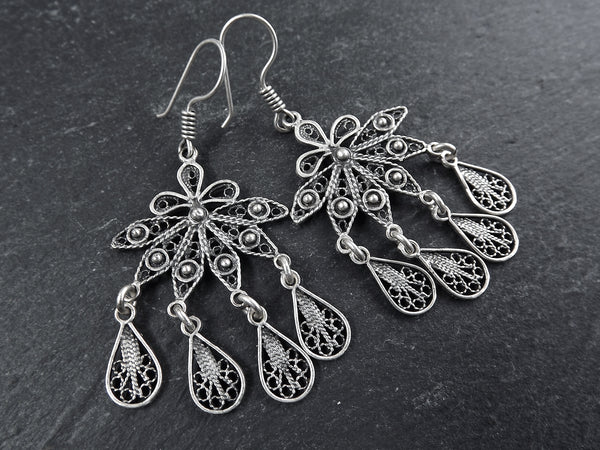 Petals Fan Shaped Telkari Dangly Silver Ethnic Boho Earrings - Authentic Turkish Style