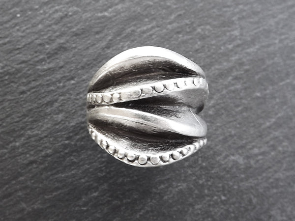 Dalga Silver Ethnic Tribal Boho Geometric Statement Ring - Authentic Turkish Style