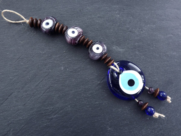 Marble Mauve Purple Turkish Evil Eye Wall Hanging Home Garden Decoration with Evileye Traditional Artisan Beads - No:53