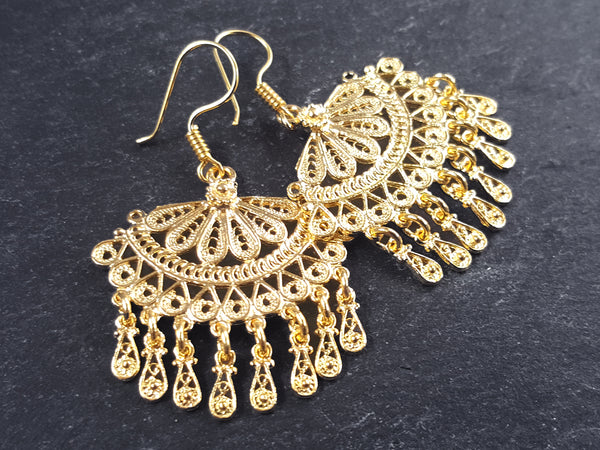 Scallop Fan Shaped Telkari Dangly Gold Ethnic Boho Earrings - Authentic Turkish Style