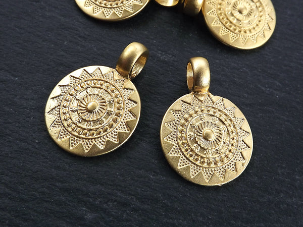 2 Small Ethnic Sun Mandala Round Disc Pendants with Side Facing - 22k Matte Gold Plated