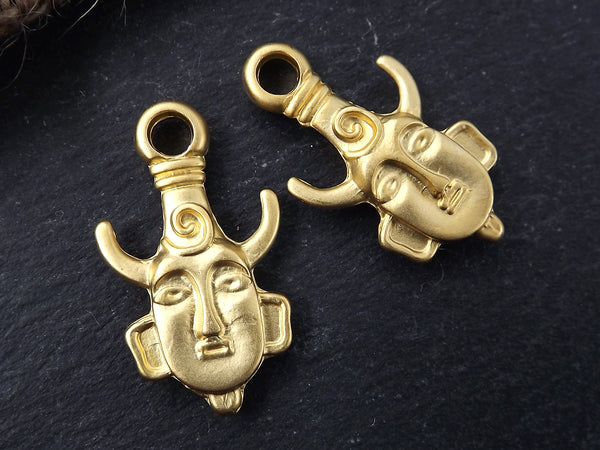 Tribal Ethnic Mask Pendant Charms - African Mask with Horns - 22k Matte Gold Plated - 2PC