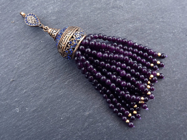 Large Long Potent Purple Jade Stone Beaded Tassel with Crystal Accents Greek Key Pattern - Antique Bronze - 1PC