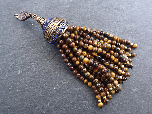 Large Long Tiger Eye Stone Beaded Tassel with Crystal Accents Greek Key Pattern - Antique Bronze - 1PC