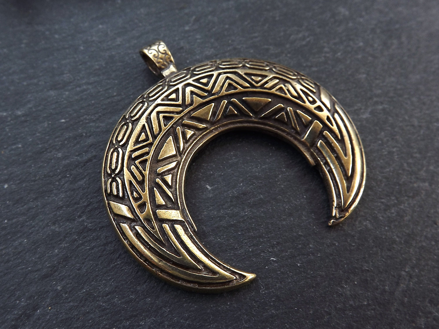 Large Crescent Pendant Tribal Double Horn Moon Detailed Pendant Antique  Bronze Plated Turkish Jewelry Supplies Findings Components 1PC
