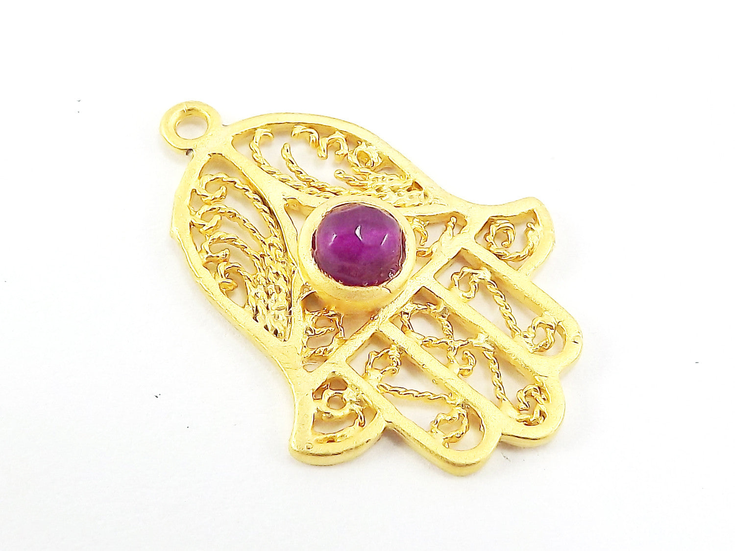 Filigree Hand of Fatima Hamsa Pendant Charm with Violet Purple Facet Cut Jade Accent- 22k Matte Gold Plated
