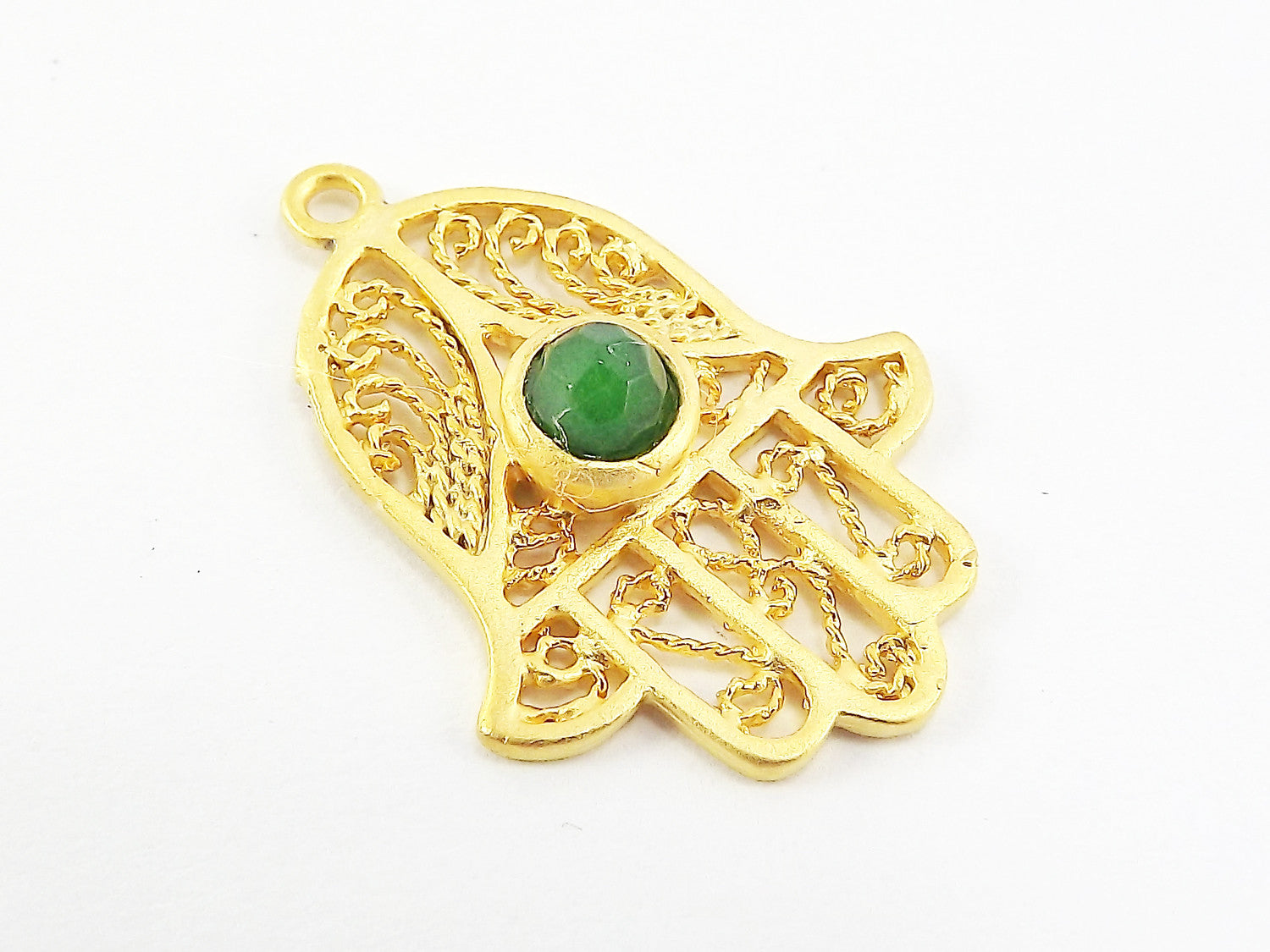 Filigree Hand of Fatima Hamsa Pendant Charm with Emerald Green Facet Cut Jade Accent- 22k Matte Gold Plated