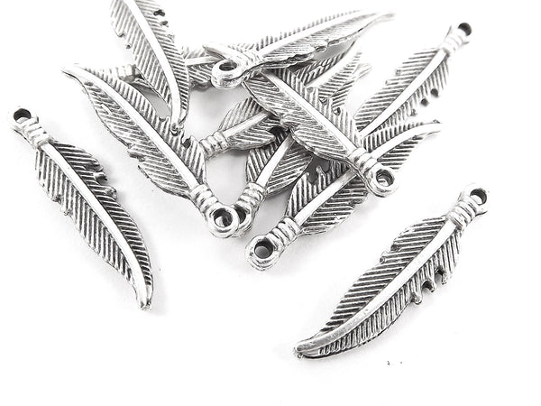 10 Tribal Feather Charms - Antique Matte Silver Plated